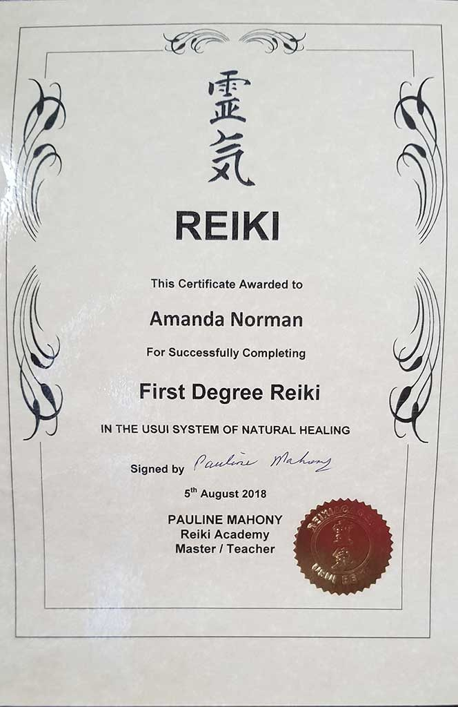 First Degree Reiki Certificate