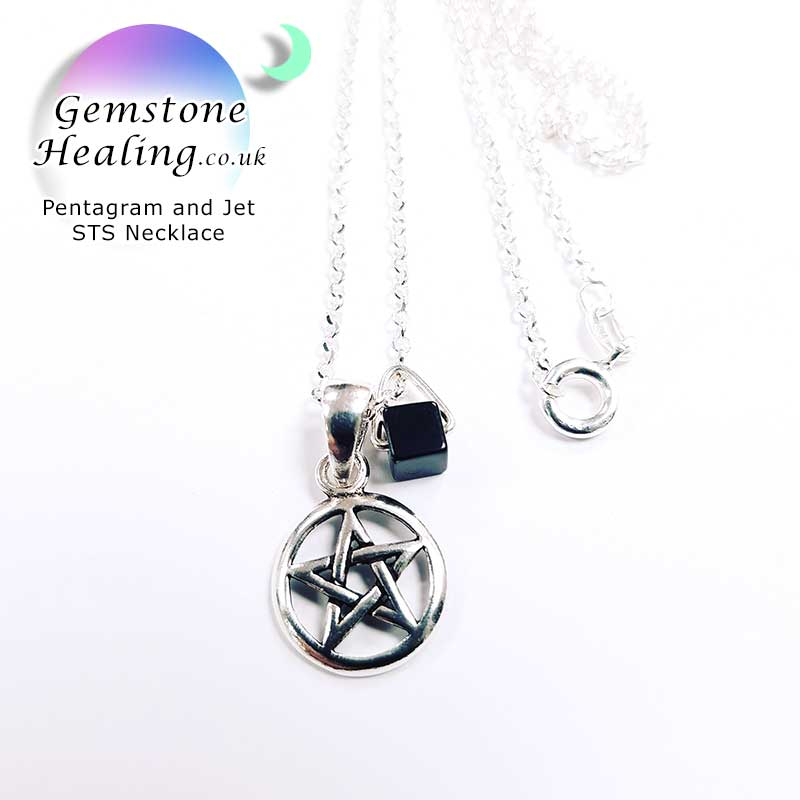 Pentagram with Jet Silver Necklace